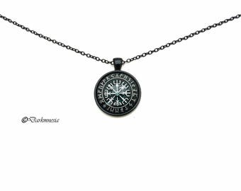necklace, vegvisir, black, pendant, cabochon, nordic, viking, medieval, pagan