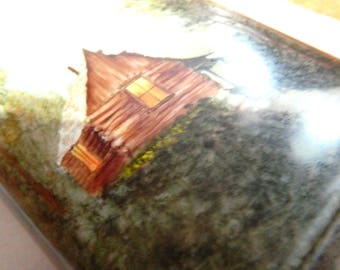country night scene old cabin collectible vase GEROLD-PORZELLAN BOVARIA West Germany