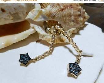 ON SALE 14k Diamond Star of Bethlehem Cluster and Drop Dangle Earrings Changeable Movable 3.55g
