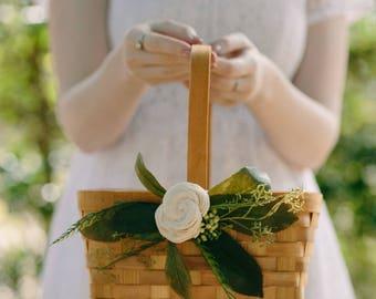 Flower Girl Basket | Rustic Flower Basket | Light wood Rectangle Wedding Basket | Wood Card Basket | Ivory Floral | Garden Wedding