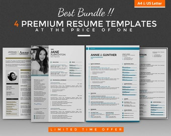 Creative Resume Template /Professional CV Template Bundle - 4 Best Word Resume / CV Design + Cover Letter, A4 / USLetter, PC and Mac