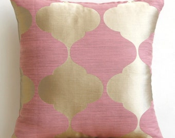 Designer Pillow Covers 18 x 18 Pink, Gold Damask Vintage Pillows Cover, Square Jacquard Throw Pillows Cover - Pink Lotus