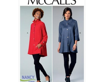 McCall's M7512 One Size (4-22)  Misses' Button-Front Jackets with Gathered Collar Sewing Pattern / Uncut/FF