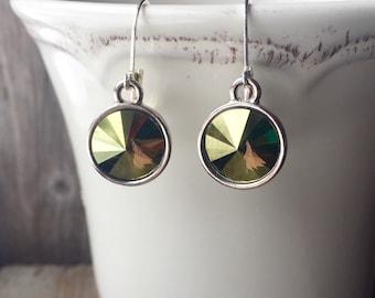 SALE Swarovski Crystal Iridescent Green Rivoli Earrings 10.5mm FREE SHIPPING