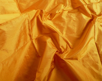Fine Indian Silk Taffeta in Dark Mustard- Fat quarter -TF 29