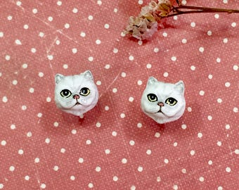 White Persian cat earrings, Cat stud earrings, tiny cat earrings, cat sculpture, Polymer clay cat, cat lover gifts