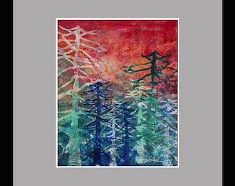 Sunset over Waving Spruce- Gelatin Monotype Print; Matted, Framed and Ready to Hang