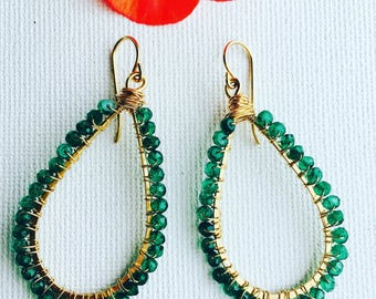 Green Onyx Gold Filled Wire Wrapped Handmade Earrings