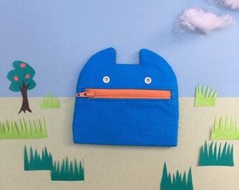Zip Monster Coin purse, Blue Cotton Canvas Zip Pouch, Handmade Coin Pouch