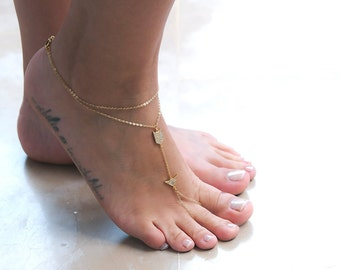 Dainty Foot Chain Slave Anklet | Chain Barefoot Sandal | Gift For Her | Gold Foot Jewelry | Gold Body Jewelry | Boho Jewelry for Summer