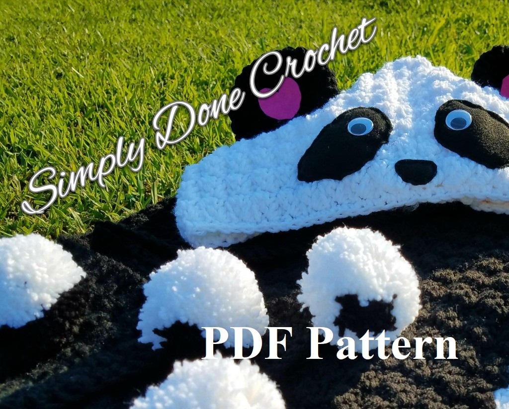Crochet Panda Hooded Blanket Wrap Pattern PDF Pattern DIY