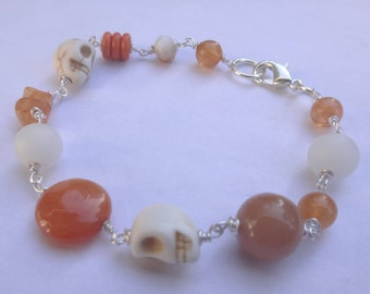 Day Of The Dead Skull Peach Bracelet
