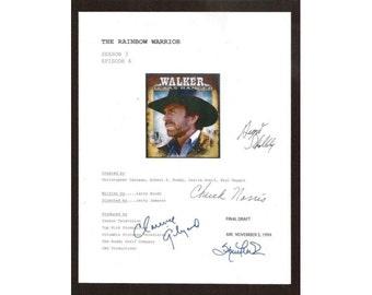 "Walker Texas Ranger ""The Rainbow Warrior"" TV Script Autographed: Chuck Norris, Clarence Gilyard, Sheree J Wilson, August Schellenberg"