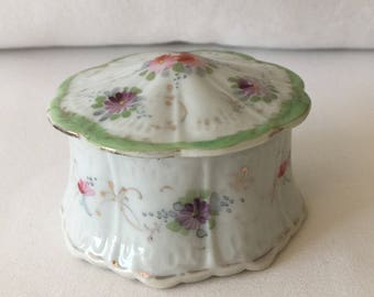 Vintage Hand Painted Covered Jewelry Dish