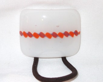 Glass Ponytail Holder, Orange, Purple and White Fused Glass, Handmade Hair Accessories, Curved Glass Hair Tie, White Ponytail Holder