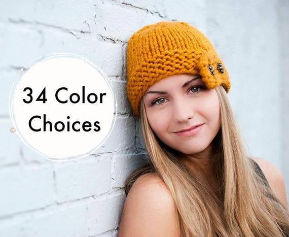Knit Womens Cloche Hat Mustard Yellow Knit Hat - Mustard Hat Yellow Hat Mustard Beanie Winter Hat Knit Accessories - 34 Color Choices