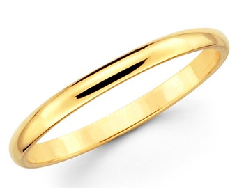14K Solid Yellow Gold 2mm Plain Wedding Band Ring