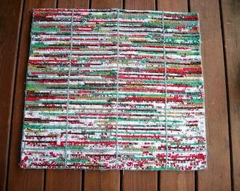 "an ""Almost Seuss"" Christmas rug, Locker hooked rug, cotton rug, hooked rug, rag rug, accent rug, floor rug"