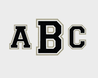"""College 3 Letter Monogram Embroidery Font in Multiple formats, 1"""", 2"""", 3"""" & 4"""" sizes (upper case only) - INSTANT DOWNLOAD - Item # 1003"""