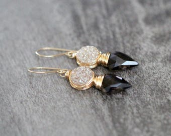 Arrowhead Druzy Dangle Earrings , Bezel Wrapped Smoky Quartz Champagne Druzy Drop Gold Filled Boho , Rose Gold , Sterling Silver  - Compass