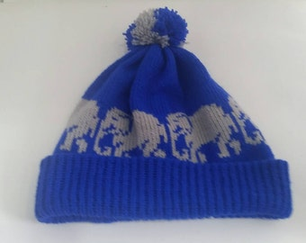 royal blue bobble hat - grey elephant hat - pom pom