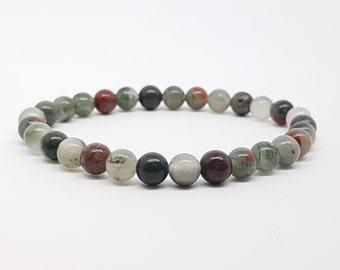 African Bloodstone gemstone beads bracelet, Green Red White gemstone, Bloodstone natural gemstone, round 6 mm beads stretch bracelet