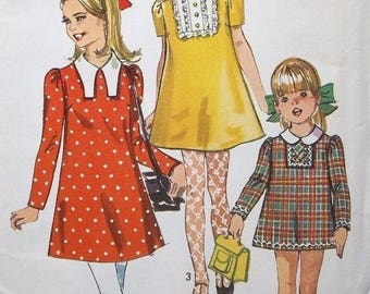 Simplicity 8421 Girls Dress Pattern, Dog Ear Collar, Lace Inset, Size 8, UNCUT