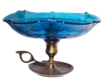 Vintage Estate Blue Glass Bowl with Brass Base Handle