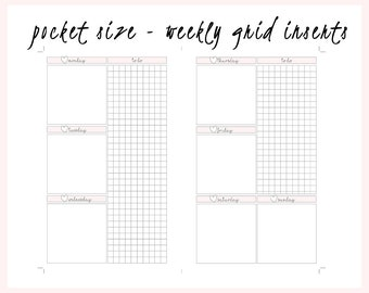 Pocket Size Gridlines Undated Weekly Inserts - TN Notebook and Agenda PM Planners Digital Printable