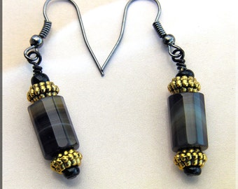 Women's Faceted Agate Earrings with Gold spacers and Gunmetal findings