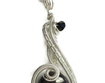 "Hypersthene Wire-Wrapped ""Mini-Coriolis"" Pendant in Sterling Silver with Swarovski Crystal"