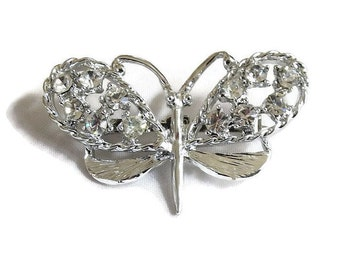 Clear Rhinestone Butterfly Brooch Vintage Silver Tone