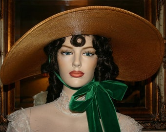 Kentucky Derby Hat Southern Belle Hat Gone With Wind Hat Scarlett O'Hara Hat Barbecue Hat Victorian Hat Women's Wide Brim Hat -Miss Scarlett