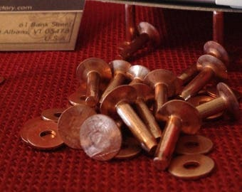 """Copper Rivets and Burrs #12 - Lengths: 3/8"""",  1/2"""", 5/8"""", 3/4,"""", 1"""" - choice of quantity"""