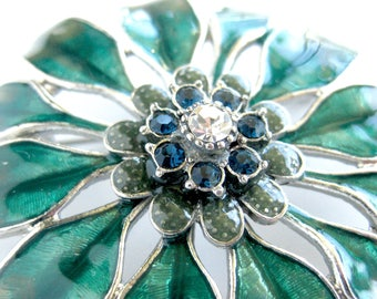 Vintage Enamel Floral Brooch with Rhinestone Center / Green Enamel Flower Pin / Silvertone Metal / Gift for Her / Costume Jewelry