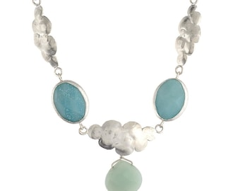 Clouds in the Sky Aventurine Necklace in Silver