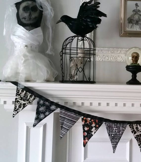 Ready to Ship! Fabric Halloween Banner. Black and White Halloween Fabric Banner, Fabric Halloween Pennant Banner