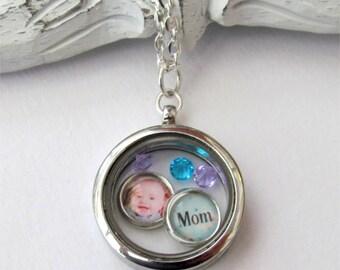 Mom Necklace, Floating  Charm Locket, Personalized Charm Locket, Photo Necklace