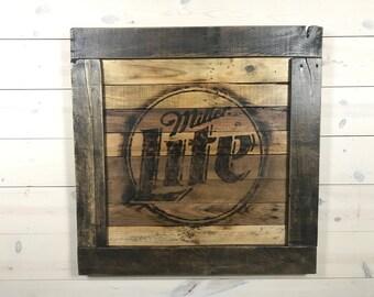 Miller Lite Logo Reclaimed Pallet Wood Burnt Sign