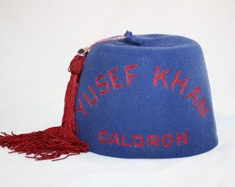Vintage Yusef Khan Caldron Shriners Fez Hat and Tassel