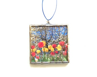 Spring flowers, mini wall art, red tulips stained glass ornament, nature photography, everlasting flowers, coworker gift
