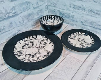 Skull dinner set hand painted item black skulls ceramic plates glazed bowl & Gothic Square Dinnerset Skulls Dinner Set Hand Painted