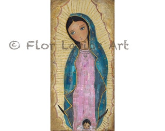 Our Lady of Guadalupe with Angel - Print from Original Mixed Media Folk Art Painting by FLOR LARIOS ( 5 x 10 inches)