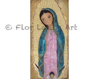 Notre Dame de Guadalupe avec ange - imprimer à partir d'origine mixte Folk Art peinture par FLOR LARIOS (5 x 10 pouces)