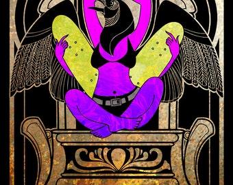 Goddess of Skate - corvid skateboard goddess stele