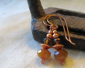 amber and copper dangle earrings