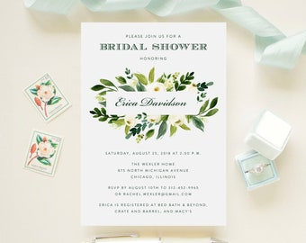 Floral Bridal Shower or Brunch Invitation with Greenery Foliage  // Botanical, Garden, Bohemian // Printed Cards and Envelopes