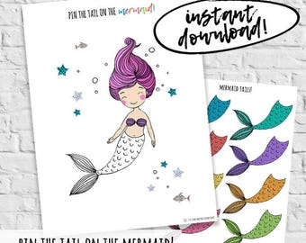 Pin the tail on the mermaid printable party games mermaid pin the tail on the mermaid birthday party games printable instant download diy printable party games mermaid obsessed birthday supplies maxwellsz