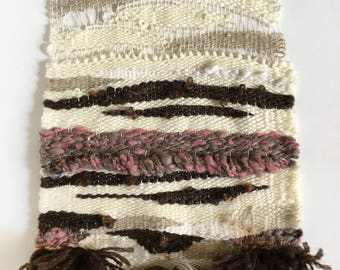 Handwoven Wall Art / Woven Wall Hanging Tapestry / Fiber Art / Ivory, Pink, Taupe, Brown