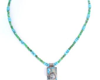 ARMENIAN TURQUOISE PENDANT Necklace Blues and Greens NewWorldGems